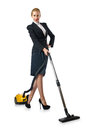 Businesswoman doing vacuum cleaning Royalty Free Stock Photo