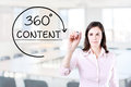 Businesswoman drawing a 360 degrees Content concept on the virtual screen. Office background. Royalty Free Stock Photo