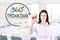 Businesswoman drawing a 360 degrees Thinking concept on the virtual screen. Office background.