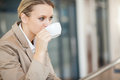Businesswoman drinking coffee Stock Photography