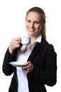 Businesswoman enjoying a cup of coffee from white isolated white background Royalty Free Stock Photo