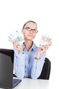 Businesswoman with euros in hands on workplace Royalty Free Stock Image