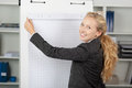 Businesswoman with flip chart in office portrait of young Stock Photography