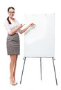 Businesswoman with flip chart young woman over white background Stock Images