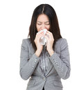 Businesswoman with flu isolated on white Stock Image