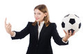 Businesswoman with football on white Stock Images