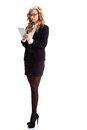 Businesswoman full lenght portrait with tablet Royalty Free Stock Photos