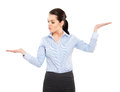 Businesswoman gesturing isolated on white Stock Photography