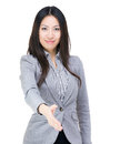 Businesswoman give hand for hand shake isolated on white Royalty Free Stock Photography