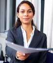 Businesswoman giving contract Stock Photo