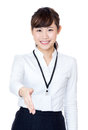 Businesswoman giving hand shake isolated on white Stock Photos