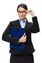 Businesswoman in glasses with folder full length portrait of blue isolated on white concept of leadership and success Stock Photo