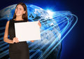 Businesswoman with glowing lines and earth holding paper sheet as backdrop elements of this image are furnished by nasa Stock Images