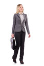 Businesswoman in gray suit isolated on white Royalty Free Stock Photo
