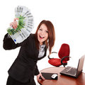 Businesswoman with group of money and laptop. Stock Photography