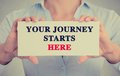 Businesswoman hands holding card sign with your journey starts here message closeup white text isolated on grey wall office Stock Photography