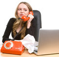 Businesswoman with handset talking Royalty Free Stock Photography