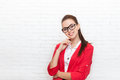 Businesswoman happy smile wear red jacket glasses Royalty Free Stock Photo
