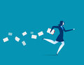 Businesswoman hasty running. Concept business illustration. Vect
