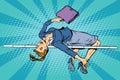 Businesswoman high jump Royalty Free Stock Photo