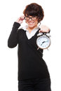 Businesswoman holding alarm clock Royalty Free Stock Images