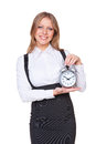 Businesswoman holding alarm-clock Royalty Free Stock Photos