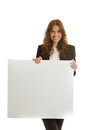 Businesswoman holding blank banner isolated Royalty Free Stock Photo