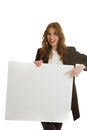 Businesswoman holding blank banner isolated Stock Images