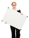 Businesswoman holding blank whiteboard sign. Stock Photography