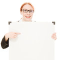 Businesswoman holding blank whiteboard sign. Royalty Free Stock Images