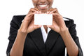 Businesswoman holding business card african american on white background close up Stock Photos