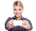 Businesswoman holding credit card Stock Photos