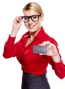 Businesswoman holding credit card. Stock Image