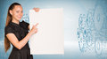 Businesswoman holding empty paper. Wire-frame Royalty Free Stock Photo