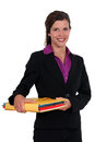 Businesswoman holding files a some Royalty Free Stock Images