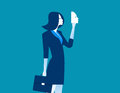 Businesswoman holding mask in front. Concept business people des