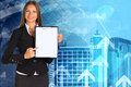 Businesswoman holding paper holder in his hands skyscrapers and arrows as backdrop Royalty Free Stock Photography