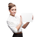Businesswoman holding sign cheerful caucasian isolated on white Stock Photos
