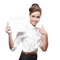 Businesswoman holding sign cheerful caucasian isolated on white Royalty Free Stock Image