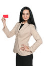 Businesswoman holds a credit card against the white background Royalty Free Stock Image