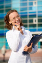 Businesswoman holing folder Stock Images