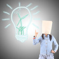 Businesswoman and idea lamp Stock Images
