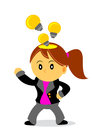 Businesswoman illustration of cartoon character with her activity Stock Photo