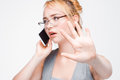 Businesswoman important phone call, don`t disturb Royalty Free Stock Photo