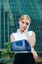 Businesswoman With Injured Arm Stock Images