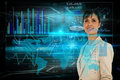 Businesswoman with interface digital composite of Royalty Free Stock Image