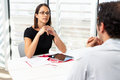 Businesswoman interviewing male candidate for job Royalty Free Stock Image