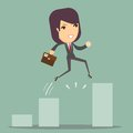Businesswoman Jump Through The Gap In Growth Chart Royalty Free Stock Photo