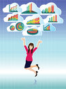 Businesswoman jumping with business graphs cloud set this is it s for advertising and illustration Stock Photography