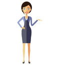 Businesswoman lady presents something vector flat cartoon illust